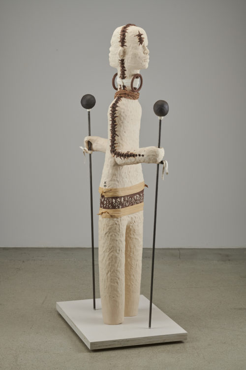 Rose B. Simpson<br><em>Frère A</em>, 2019<br>Ceramic, leather, steel, and beads<br>54 x 11 x 20 1/2 inches 137.2 x 27.9 x 52.1 cm