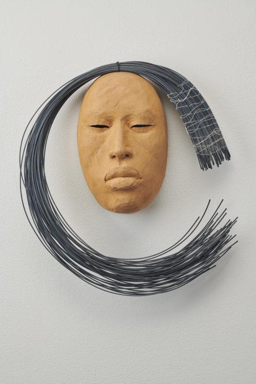 Rose B. Simpson<br><em>Moon 1</em>, 2019<br>Ceramic, reed, and thread<br>13 1/2 x 12 x 4 inches 34.3 x 30.5 x 10.2 cm
