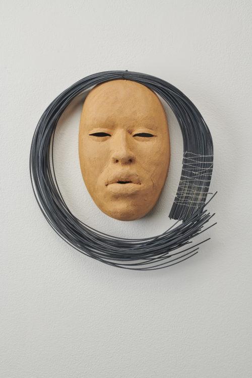 Rose B. Simpson<br><em>Moon A</em>, 2019<br>Ceramic, reed, and thread<br>11 x 11 x 3 1/2 inches 27.9 x 27.9 x 8.9 cm