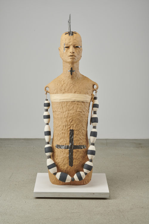 Rose B. Simpson<br><em>River Girl A</em>, 2019<br>Ceramic, glaze, steel, leather, and rope<br>43 1/2 x 14 1/2 x 13 1/2 inches 110.5 x 36.8 x 34.3 cm