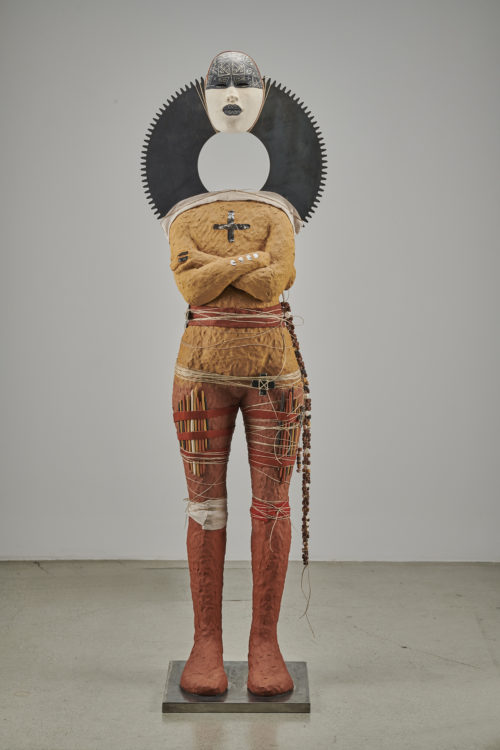 Rose B. Simpson<br><em>Root 1</em>, 2019<br>Ceramic, glaze, linen, jute string, steel, and leather<br>70 x 20 1/2 x 16 inches 177.8 x 52.1 x 40.6 cm