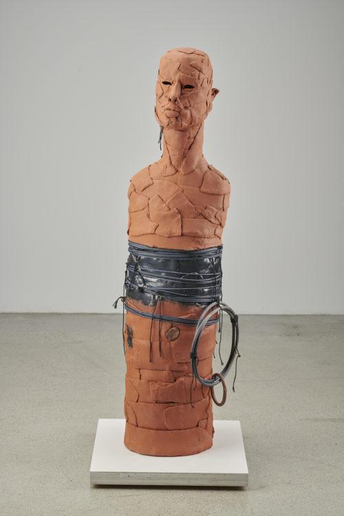 Rose B. Simpson<br><em>They Rose A</em>, 2019<br>Ceramic, glaze, string, and reed<br>42 x 12 x 12 inches 106.7 x 30.5 x 30.5 cm