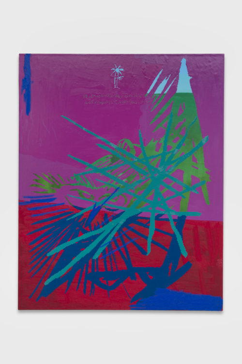 <em>Pastimes (a foggy memory perfected, unsigned)</em>, 2019<br> Gouache, oil, and enamel on paper mounted on linen<br> 60 x 48 inches<br> 152.4 x 121.9 cm