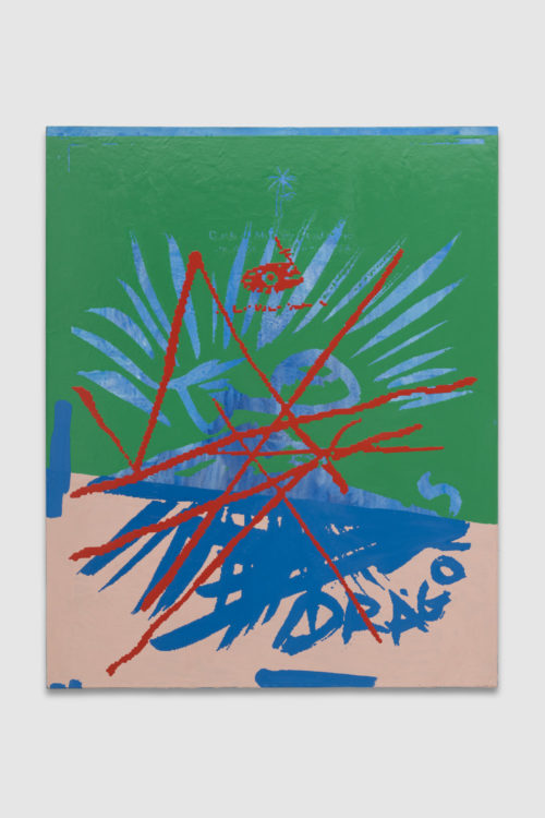 <em>Pastimes (double dragons, unsigned)</em>, 2019<br> Gouache, oil, and enamel on paper mounted on linen<br> 60 x 48 inches<br> 152.4 x 121.9 cm
