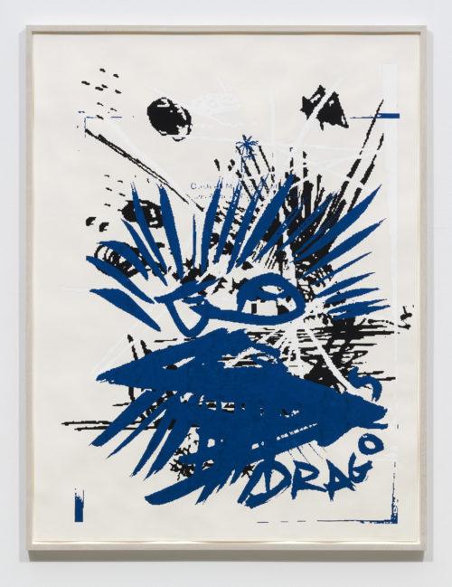 <em>Hanging man (blue eagle)</em>, 2019<br> Gouache and oil on paper <br>Framed: 60 1/2 x 46 inches<br> 153.7 x 116.8 cm