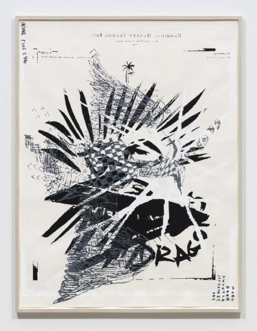 <em>Black Dragons (grey eagle)</em>, 2019<br> Gouache, oil, and enamel on paper<br> Framed: 60 1/2 x 46 inches<br> 153.7 x 116.8 cm