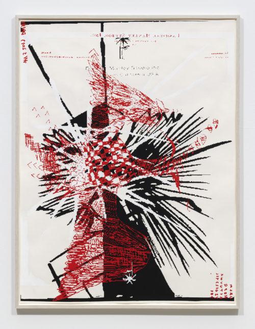 <em>Split constitution (red eagle)</em>, 2019<br>Gouache and oil on paper<br>Framed: 60 1/2 x 46 inches<br>153.7 x 116.8 cm
