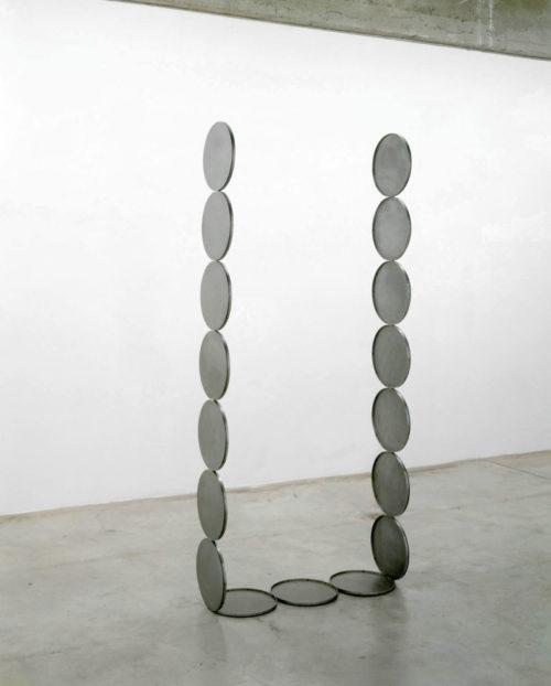 Nicole Wermers<br><em>Untitled Forcefield (tray portal)</em>, 2006<br>Waxed mild steel<br>88 1/4 x 37 3/4 x 12 5/8 inches / 224 x 96 x 32 cm
