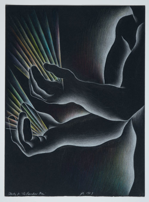 Judy Chicago<br><em>Study for The Rainbow Man (2)</em>, 1983<br>Prismacolor on black Arches<br>15 x 11 inches