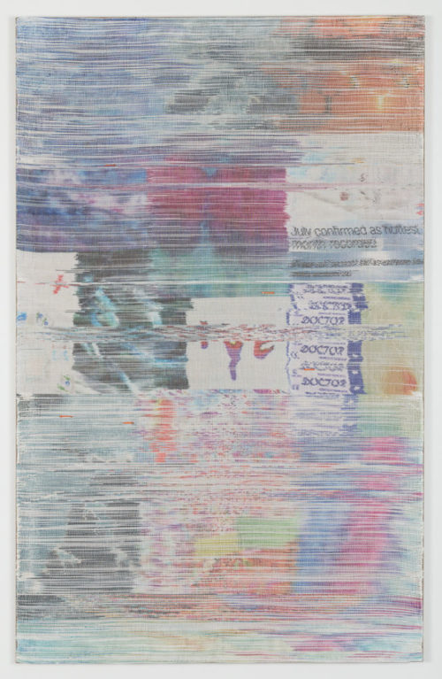 Margo Wolowiec<br><em>Doctor I</em>, 2019<br>Handwoven polymer, linen thread, sublimation dye, and reflective mylar from emergency preparedness kits mounted on linen support<br>75 x 47 inches / 190.5 x 119.4 cm