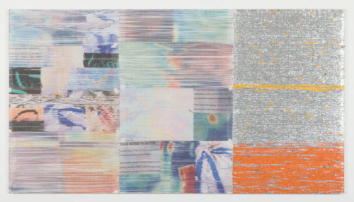 Margo Wolowiec<br><em>From Worse to Better</em>, 2019<br>Handwoven polymer, linen thread, sublimation dye, and reflective mylar from emergency preparedness kits mounted on linen support