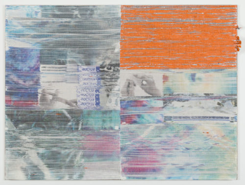 Margo Wolowiec<br><em>Doctor II</em>, 2019<br>Handwoven polymer, linen thread, sublimation dye, and reflective mylar from emergency preparedness kits mounted on linen support<br>42 x 56 inches / 106.7 x 142.2 cm
