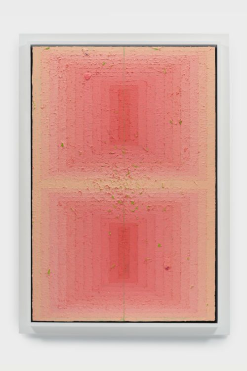 Julian Hoeber<br><em>Execution Changes #104 (CS, Q1, RMJ, DC, Q2, LMJ, DC, Q3, LMJ, DC, Q4, RMJ, DC)</em>, 2019<br>Acrylic on linen over panel<br>54 x 38 x 3 inches