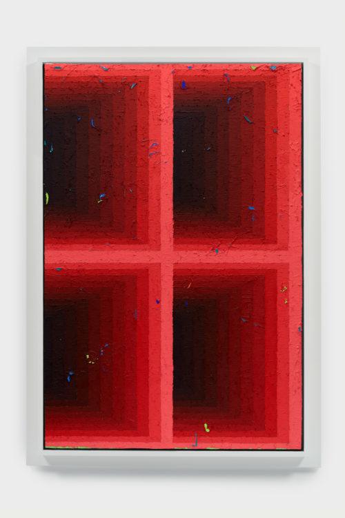 Julian Hoeber<br><em>Execution Changes #105 (CS, Q1, LMJ, DC, Q2, LMJ, DC, Q3, LMJ, DC, Q4, LMJ, DC)</em>, 2019<br>Acrylic on linen over panel<br>54 x 38 x 3 inches