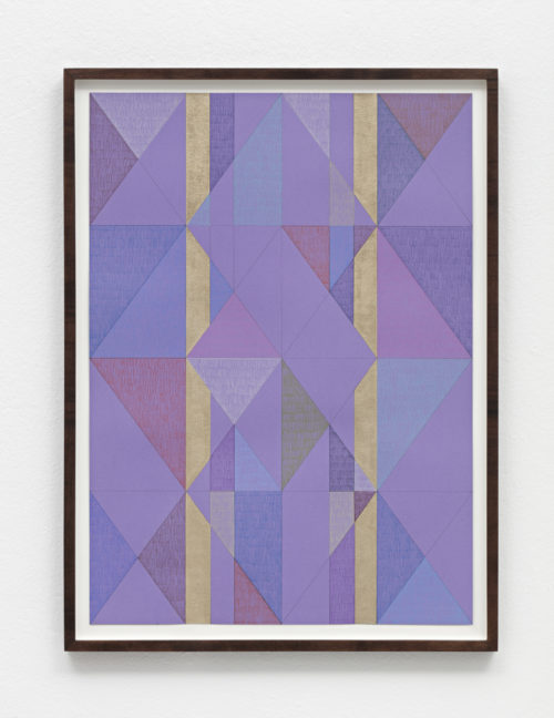 Claudia Wieser<br><em>Untitled</em>, 2019<br>Gold leaf and colored pencil on handmade paper<br>18 x 13 inches<br> Framed: 19 3/4 x 14 3/4 inches