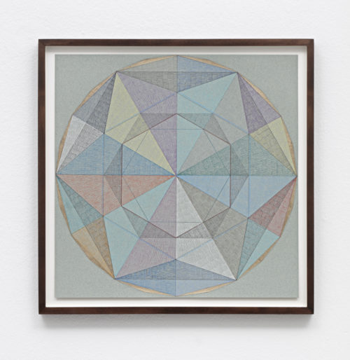 Claudia Wieser<br><em>Untitled</em>, 2019<br>Gold leaf and colored pencil on handmade paper<br>13 x 13 inches<br> Framed: 14 3/4 x 14 3/4 inches