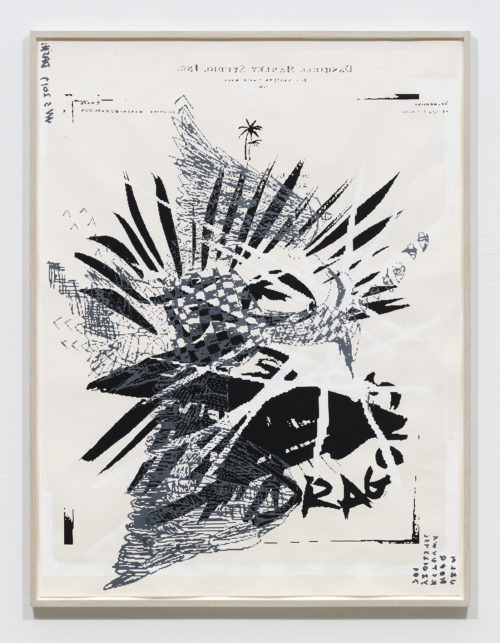 Dashiell Manley<br><em>Black Dragons (grey eagle)</em>, 2019<br>Gouache, oil, and enamel on paper<br>Framed: 60 1/2 x 46 inches 153.7 x 116.8 cm