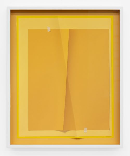 John Houck<br><em>Accumulator #33.1, 3 Colors #EBB168, #FECB7A, #F6AE66</em>, 2019<br>Creased archival pigment print (unique)<br>20 x 16 inches / 50.8 x 40.6 cm