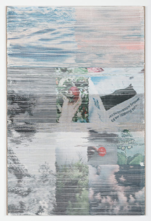 Margo Wolowiec<br><em>What We Know</em>, 2019<br>Handwoven polymer and linen, dye sublimation ink, acrylic paint, stretched linen canvas <br>52 x 37.5 inches / 132 x 9.5 cm
