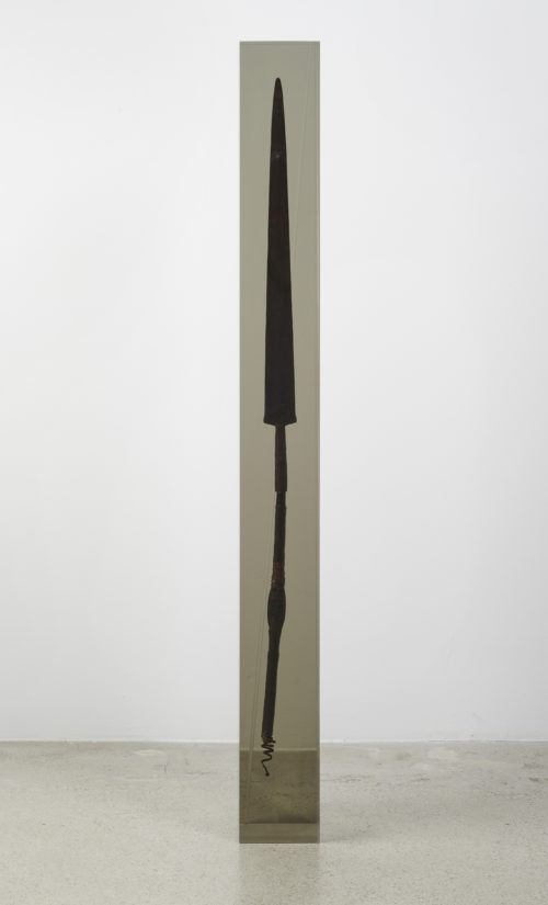 Matthew Angelo Harrison<br><em>Dark Silhouette: Remnant for Disruption</em>, 2020<br>Spear, tinted polyurethane resin<br>52 x 6 1/2 x 6 1/2 inches 132.1 x 16.5 x 16.5 cm