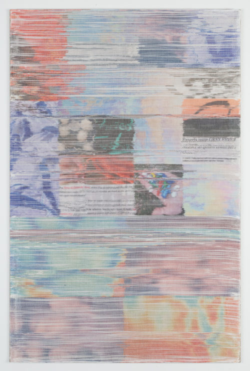 Margo Wolowiec<br><em>Grey Fever</em>, 2019<br>Handwoven polymer, linen thread, dye sublimation ink, mounted on linen support<br>72 x 47 inches / 182.9 x 119.4 cm
