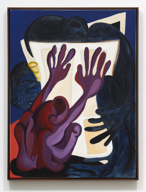 Woody De Othello<br><em>Pushing Away Keeping Out</em>, 2020<br>Oil on canvas<br>40 x 30 x 1 1/4 inches 41 x 31 x 2 inches